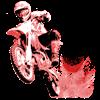 Red Dirtbike Wheeling in Mud