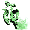 Green Dirtbike Wheeling in Mud Organic Men's T-Shi