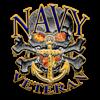 US Navy Veteran Skull Organic Women's Fitted T-Shi
