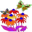 Flowers and butterflies V-Neck 3/4 Sleeve - Dark (Charcoal, Black, Heather, Garnet, Teal)
