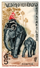 Vintage 1958 Laos Asian Elephants Postage Stamp Zi