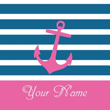 Pink Anchor On Stripe - Personalized