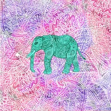 Teal Tribal Paisley Elephant Purple Henna Pattern