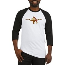 Longhorn Steer with Santa Hat Baseball Jersey