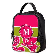 Lime Green Pink Monogram Neoprene Lunch Bag