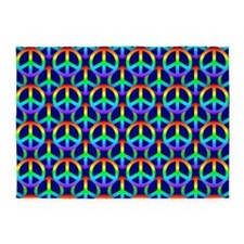 Rainbow Peace Sign 5'x7'Area Rug