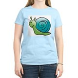 Green and Turquoise Snail Women's Pink T-Shirt