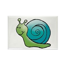 Green and Turquoise Snail Rectangle Magnet