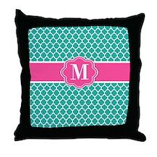 Teal Pink Quatrefoil Monogram Throw Pillow