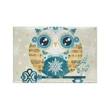 Winter Wonderland Owl Rectangle Magnet