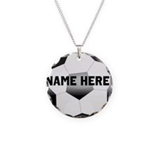 Personalized Name Soccer Ball Necklace Circle Char