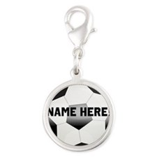 Personalized Name Soccer Ball Silver Round Charm