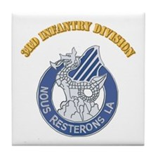 DUI - 3rd Infantry Division with Text Tile Coaster