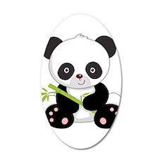 Cute Baby Bamboo Panda 20x12 Oval Wall Decal
