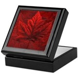 Canada Souvenir Auumn Maple Leaf Wooden Tile Box