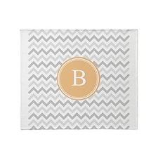 Orange Grey Chevron Monogram Throw Blanket