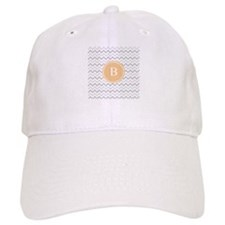 Orange Grey Chevron Monogram Baseball Cap