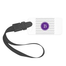 Purple Grey Chevron Luggage Tag