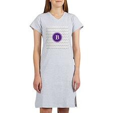 Purple Grey Chevron Women's Nightshirt