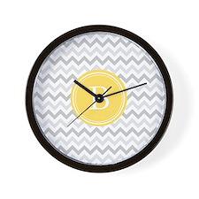 Yellow Gray Chevron Wall Clock