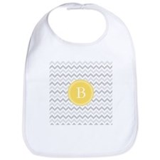 Yellow Gray Chevron Bib
