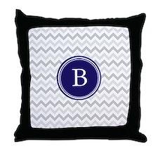 Navy monogram grey chevron Throw Pillow