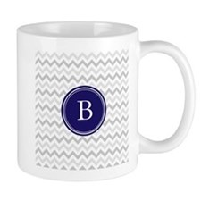 Navy monogram grey chevron Mugs