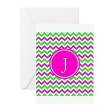 Pink Green Monogram Chevron Greeting Cards