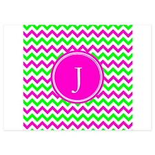 Pink Green Monogram Chevron Invitations