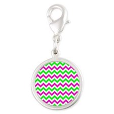 Pink and Green Chevron Charms