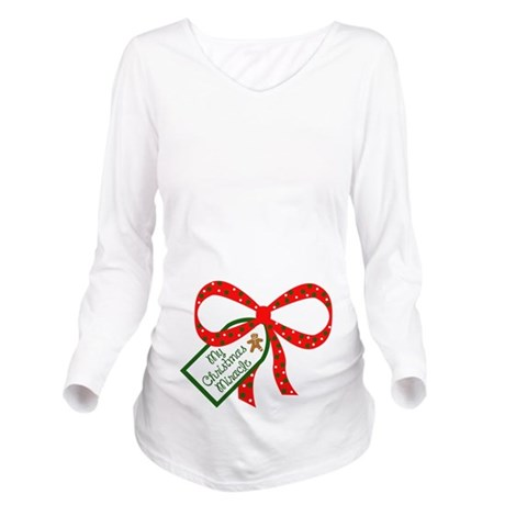 My christmas miracle long sleeve maternity t shirt by for Funny christmas maternity t shirts