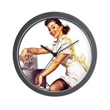 Vintage Pinup Girl Nurse Wall Clock