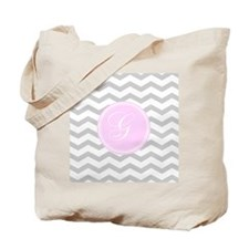 Pink and Grey Monogram Chevron Tote Bag
