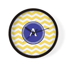 Monogrammed yellow chevron Wall Clock