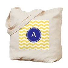 Monogrammed yellow chevron Tote Bag