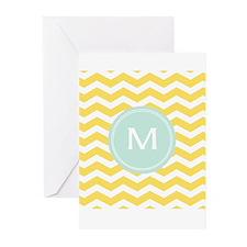 Monogram yellow chevron Greeting Cards