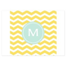 Monogram yellow chevron Invitations