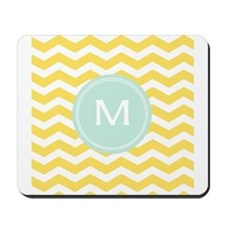 Monogram yellow chevron Mousepad