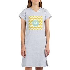 Monogram yellow chevron Women's Nightshirt