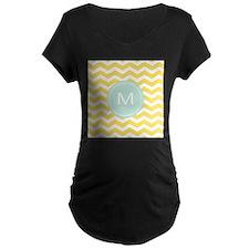 Monogram yellow chevron Maternity T-Shirt