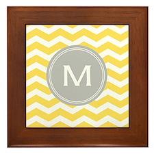 Yellow Chevron Monogram Framed Tile