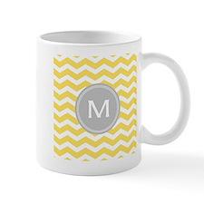 Yellow Chevron Monogram Mugs