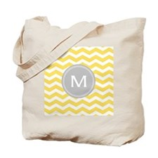 Yellow Chevron Monogram Tote Bag