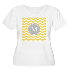 Yellow Chevron Monogram Plus Size T-Shirt