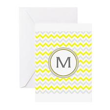 Monogrammed chevron Greeting Cards
