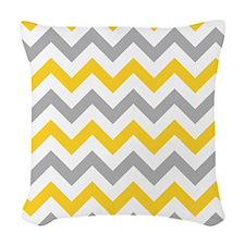 Yellow and Grey Chevron Woven Throw Pillow