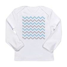 Blue and Grey Chevron Long Sleeve T-Shirt