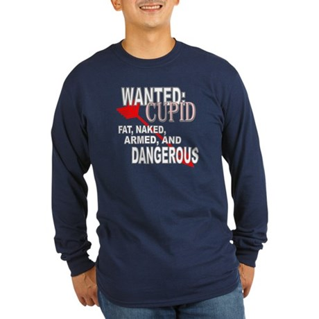 Wanted: Cupid Long Sleeve Dark T-Shirt