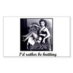 I'd Rather Be Knitting Rectangle Sticker
