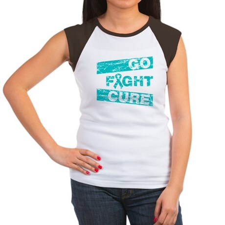 Ovarian Cancer Go Fight Cure Women's Cap Sleeve T-